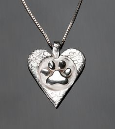 Pet memorial necklace with ashes embedded into the heart. Metal Clay Jewelry, Jewelry Tools, Jewelry Making, Pet Memorial Jewelry, Dog Best Friend, Precious Metal Clay, Floral Necklace, Pet Memorials, Inspirational Gifts
