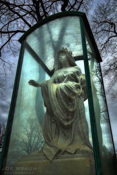 Statue encased in glass in Woodlawn Cemetery in Detroit, MI, Photo by Joe Braun Cemetery Monuments, Cemetery Statues, Cemetery Headstones, Old Cemeteries, Cemetery Art, Graveyards, Dark Side, Unusual Headstones, Woodlawn Cemetery