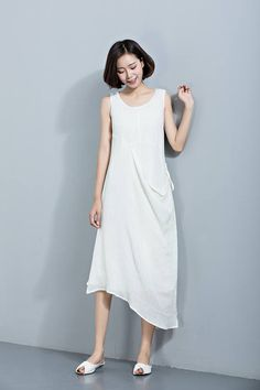 White Linen DressSleeveless DressJumper DressIrregular Hem