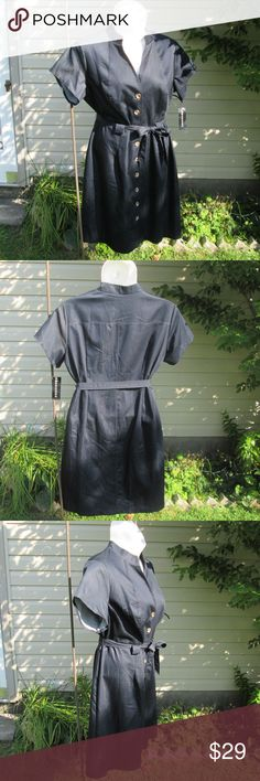 """NEW! Connected Apparel* Shirtdress Deep Dark Navy Blue. Horn (faux?) buttons entire front. Tie sash, unlined. Has a denim like look, but thin, smooth & flowy!  Measured flat. 22"""" pit to pit. 20"""" waist. 26"""" hips. 42"""" long. Below knee on 5' 10"""". On 36"""" x 31"""" x 36"""" mani  poly, cotton, spandex Connected Apparel Dresses"""