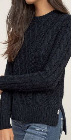 Attractive Solid Color Round Collar Twist Wave Side Slit Pullover Sweater For…