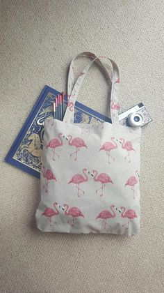 Pink Tote Bags, Printed Tote Bags, Reusable Tote Bags, Flamingo Print, Summer Bags, Folded Up, Holidays, Bird, Fabric