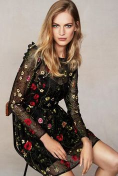 Black mesh with floral embroidery is your new way to wear bright colours in this darker season, add a red lip and you're good to go!