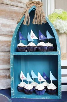 Cupcakes at a nautical birthday party! See more party planning ideas at CatchMyParty.com!