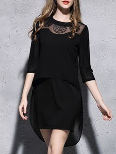 Black Stand Collar Polyester Half Sleeve Asymmetrical Mini Dress