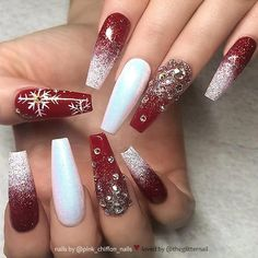 ✨ Red, White and Ombre with Glitter and Crystals on long Coffin Nails ✨ • 💅 Nail Artis