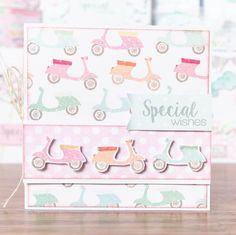 Summer scooter themed card from the @craftworkcards Summer Days! Shop now at C+C: http://www.createandcraft.tv/pp/craftwork-cards-summer-days---cards%2c-ins-345342?p=1 #cardmaking #papercraft
