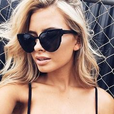 Trish 60mm Cat Eye Sunglasses (All Black)