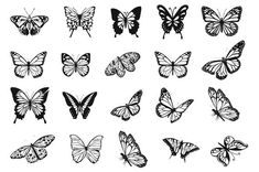 Butterfly Tattoos For Women, Small Butterfly Tattoo, Butterfly Clip Art, Butterfly Tattoo Designs, Butterfly Design, Butterfly Stencil, Butterfly Drawing, Mini Tattoos, Dainty Tattoos