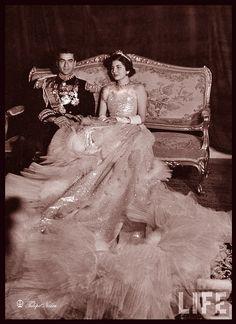 Queen Soraya and Shah Pahlavi of Iran.  Mohammad Reza Pahlavi, King of Iran with Queen Soraya on their wedding day 1951.