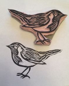 Put a Bird on It:  Hand Carved Stamp-2nd stamp to color in