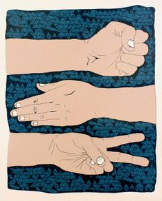 Rock Paper Scissors by Nate Duvall. Great art for kids rooms and the nursery..