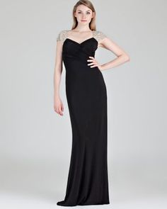 Boutique Beaded Cap Sleeve Jersey Gown  Bloomingdale's