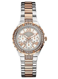 Rose Gold-Tone and Silver-Tone Sparkling Watch | GUESS.com $145