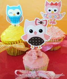 Free Printable Party Invitations: Free Owl Cupcake Toppers Template.