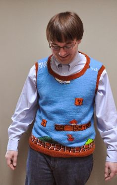 Awesome Mario sweater vest - so geeky and yet so cool!