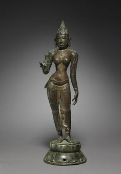 Goddess Holding a Lotus, c. 950  South India, Tamil Nadu, Chola period (900-13th Century)  bronze, Overall - h:64.10 cm (h:25 3/16 inches) Wt: 45.5 lbs. Leonard C. Hanna, Jr. Fund 1984.2