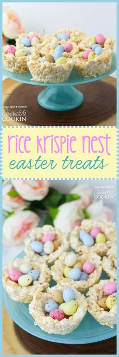 These Rice Krispie Nests are the perfect no-bake Easter goodies! They are great for the kids to take to school or to impress your coworkers. treats for coworkers Rice Krispie Nests: a quick and easy no-bake Easter treat! Easter Snacks, Easter Treats, Easter Recipes, Dessert Recipes, Easter Food, Egg Recipes, Easter Baking Ideas, Easter Deserts, Cake Recipes