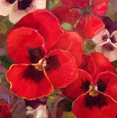 "Daily Paintworks - ""Red & White winter Pansies"" - Original Fine Art for Sale - © Krista Eaton"