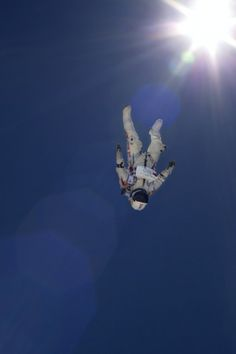 Pilot Felix Baumgartner of Austria performs during the high altitude test jumps for the Red Bull Stratos mission in Taft, California, USA on June 21, 2012.
