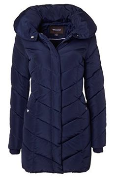 a76af6037a6 Sportoli Womens Winter Fleece Lined Chevron Quilted Puffer Jacket Coat with  Hood Navy (Size Large