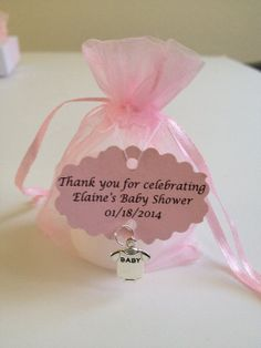 Baby Shower Favors  Votive Candles In An Organza Bag With A Charm And  Personalized Tag