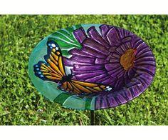 Opentip.com: Evergreen Enterprises EG2GB131 Monarch Floral, Glass Stake Birdbath