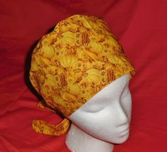 Colorful Seasonal Medical Caps Ladies Nurses Fun Scrubs Scrub Cap Pixie Hat Hats A BOUNTIFUL HARVES