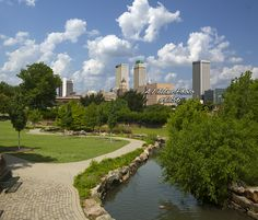 Tulsa Oklahoma fine arts and Cityscape picture of downtown near the Central Park Area this Tulsa picture that's Great clouds and it is a perfect view of Tulsa
