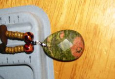 Wood Beaded Necklace with Unakite Pendant by ETNFamilyProducts, $30.00