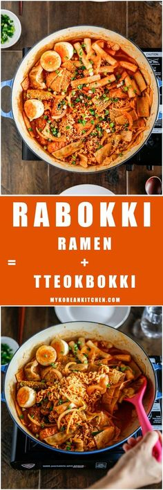 How to make Rabokki - Instant Ramen Noodles + Tteokbokki (Korean spicy rice cakes). Spicy but delicious! K Food, Good Food, Yummy Food, Healthy Food, Food Porn, Korean Dishes, Korean Food, Korean Kitchen, Asian Recipes
