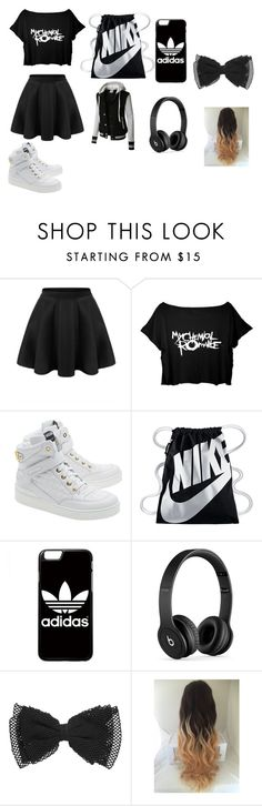 """hanging out with besties"" by angie-1669 ❤ liked on Polyvore featuring LE3NO, Moschino, NIKE, adidas and Beats by Dr. Dre"