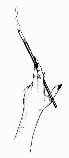 STANLEY DUKE tattoo illustration design dotwork stippling linework blackwork pointilism simplistic hand cigarette audrey hepburn