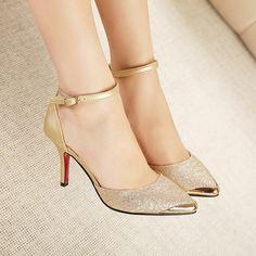 Bombas Brilho Sapatos de Salto Alto Mulher de Salto alto Mulheres Sexy Sapatos de Festa de Casamento de Ouro e Azul