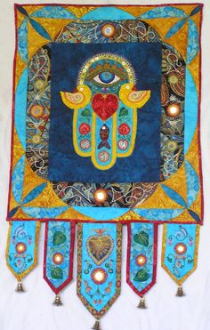 Hamsa Wall Hanging - Applique, Quilting , Embroidery