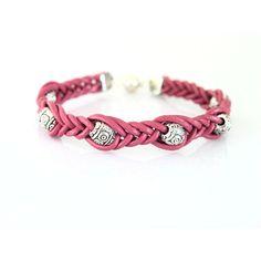 Ružový kožený náramok s kovovými korálkami
