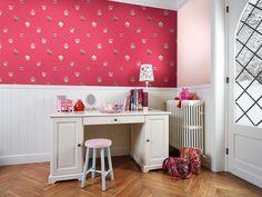 Cupcake Deep Pink by Galerie : Wallpaper Direct Kids Wallpaper, Wall Wallpaper, Cupcakes Wallpaper, Shops, Designer Wallpaper, Office Desk, Corner Desk, Kids Room, Flooring