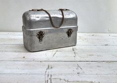 Aluminum Lunch Box Bucket  with Handle by MustyFurnitureCo on Etsy, $40.00