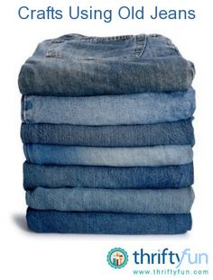 This is a guide about crafts using old jeans. Whether you are thinking of remaking them into other clothing items, decorations, rugs, or something completely different, there is a project just for you. Tons of those hangin' around. Jean Crafts, Denim Crafts, Crafts To Do, Recycled Denim, Recycled Crafts, Recycled Clothing, Recycled Fashion, Fabric Crafts, Sewing Crafts