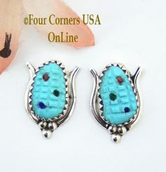 Four Corners USA Online - Turquoise Corn Sterling Post Earrings Native American Zuni Artisan Tracy Bowekaty NAER-1462, $47.00 (http://stores.fourcornersusaonline.com/turquoise-corn-sterling-post-earrings-native-american-zuni-artisan-tracy-bowekaty-naer-1462/)