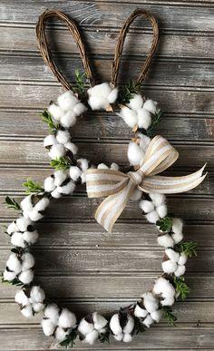 Easter Cotton Boll Wreath,Farmhouse Wreath,Bunny Cotton Wreath,Easter Wreath, Spring Wreath,Easter Bunny Wreath,Cotton Wreath,Boxwood Wreath