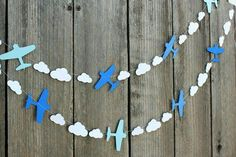 Airplane and clouds paper Garland - custom colors available - great for Disney Planes party, Aviation themes Baby Shower Avion, Baby Boy Shower, Baby Birthday, First Birthday Parties, Birthday Ideas, Disney Planes Party, Disney Planes Birthday, Decoration Creche, Aviation Theme