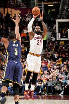 LeBron shoots over Lavoy Allen of the Indiana Pacers 4/2/2017. Cavs won in double OT.