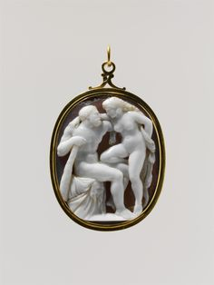 Hercules and Omphale, late 17th–early 18th century. Probably Italian. Medium: Sardonyx, mounted in gold as a pendant. Dimensions: Overall: 3 x 1 7/8in. (7.6 x 4.8 cm); visible cameo: 54 x 43 mm. Gift of J. Pierpont Morgan, 1917. -The Metropolitan Museum of Art-
