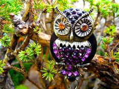 Fancy Purple Owl Badge Reel  Retractable by BadgeAlleybyGerAnne
