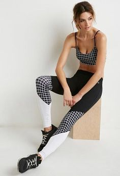 Colorblocked Checkered Athletic Leggings | Forever 21 - 2000173168