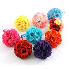 """7"""" Silk Rose Wedding Flower Hanging Ball Decorations Floral Supplies Kissing Balls on Etsy, $7.50"""