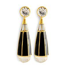 Rachel Zoe Collection black quartz teardrop earrings