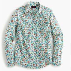 J.Crew Perfect Shirt ($130) ❤ liked on Polyvore featuring tops, flowers, floral print tops, rose print top, floral pattern shirt, flower shirt and green top