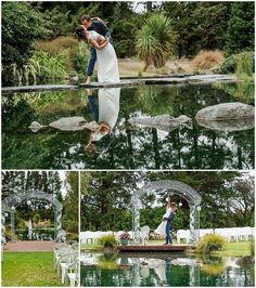 Hampton Lea Gardens Wedding Venue water pond with collage of bride and groom infant of the water Water Pond, Unique Wedding Venues, Garden Wedding, The Hamptons, New Zealand, Bride, Photographers, Infant, Groom